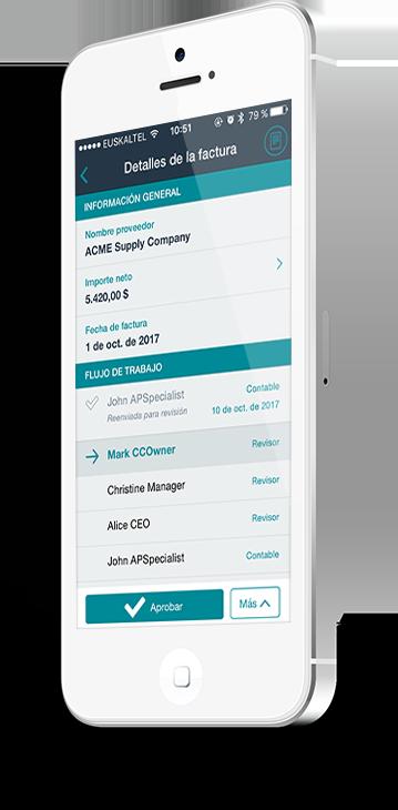 aplicación móvil Esker ciclo de compras
