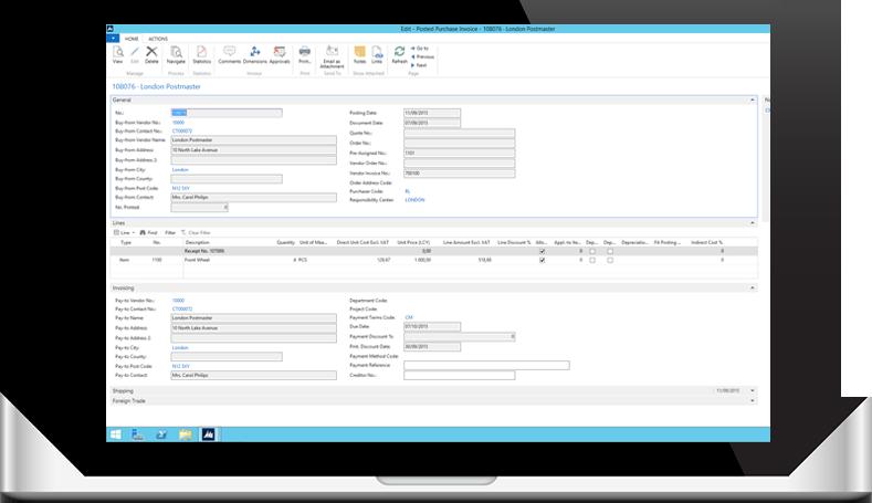 Recibe y rastrea las facturas de proveedores desde MS Dynamics